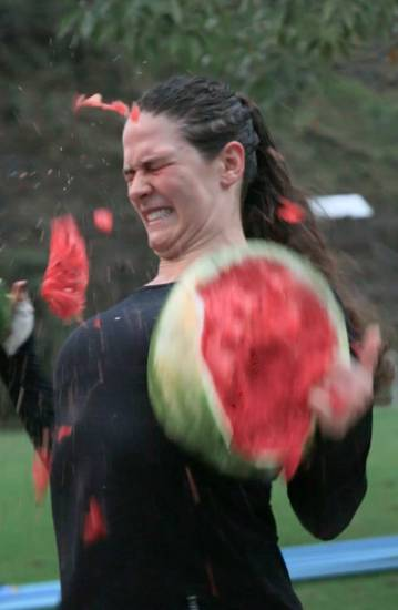 Olympic wrestler Adeline Gray destroys a watermelon. PHOTO: NBCU/BUZZFEED